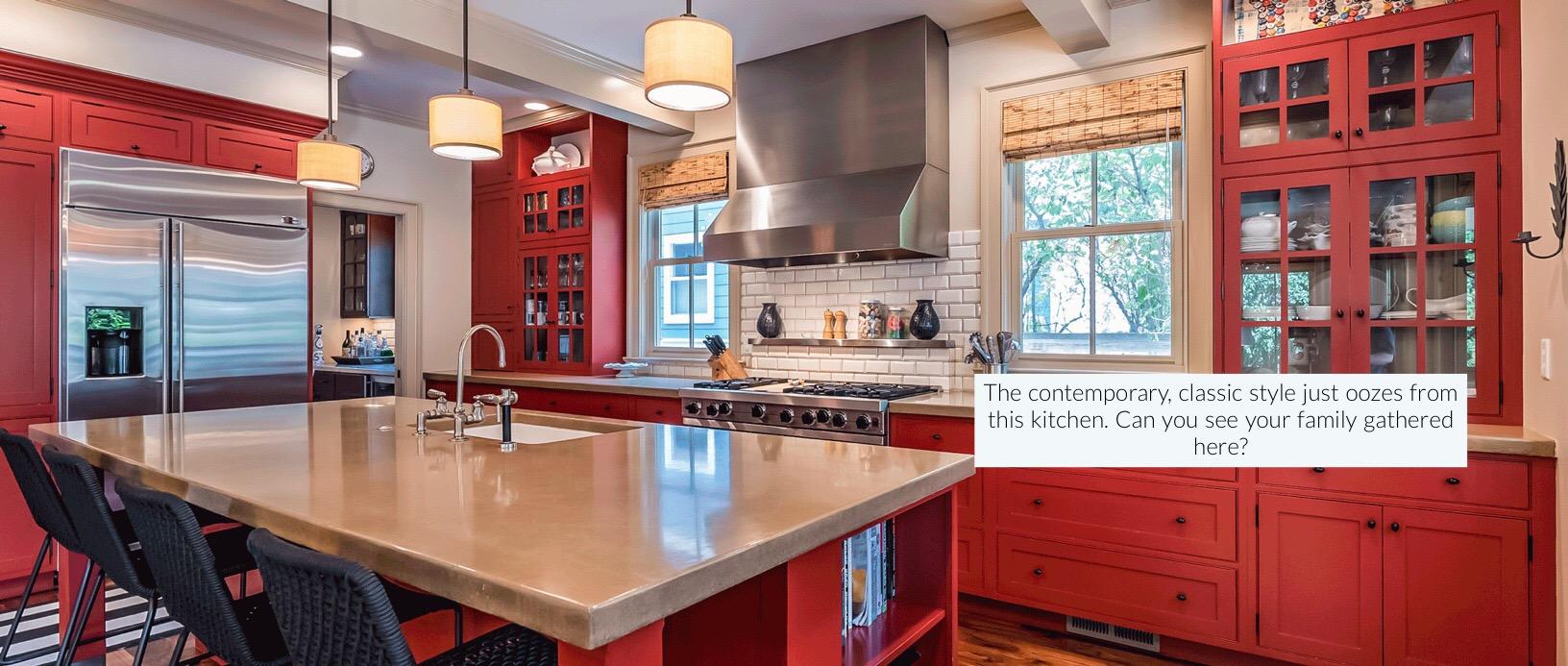 slide three – red kitchen