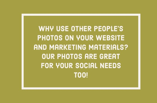 "White text on a mustard background reads ""Why use other people's photos on your website and marketing materials? Our photos are great for your social needs too!"""