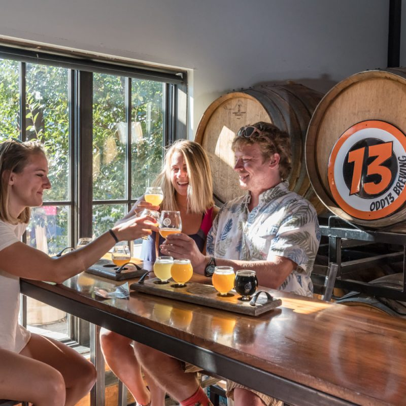 A photo of three people sit at a high bar detached bar area drinking a sample selection of craft beer and cheers their glasses while smiling, with a large window to their side and beer barrels behind them.